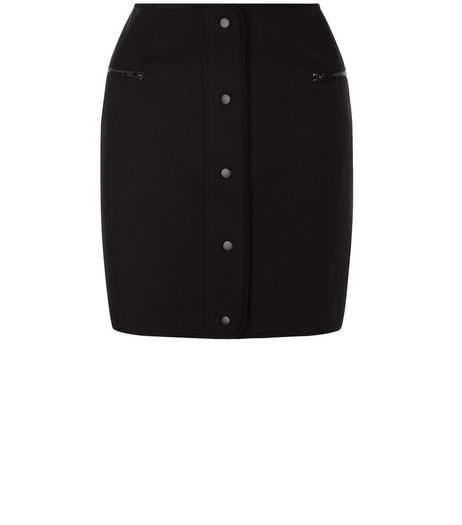 Black Popper Front Mini Skirt | New Look