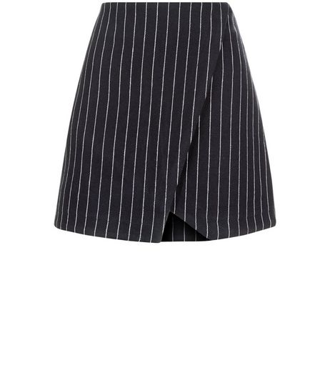 Navy Pinstripe Wrap Front Mini Skirt  | New Look