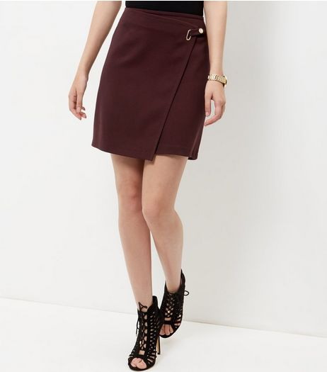 Burgundy Ring Strap Wrap Front Mini Skirt  | New Look