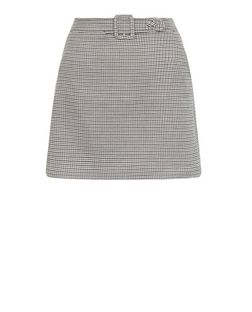 Brown Check Print Belted Mini Skirt  | New Look