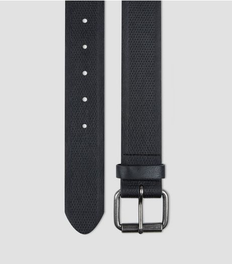 Black Leather Look Textured Belt | New Look