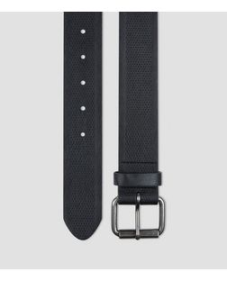 Black Textured Denim Belt  | New Look