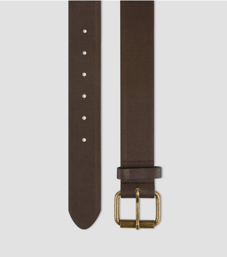 Dark Brown Textured Denim Belt  | New Look