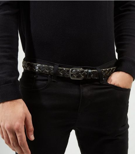 Black Woven Leather Belt | New Look