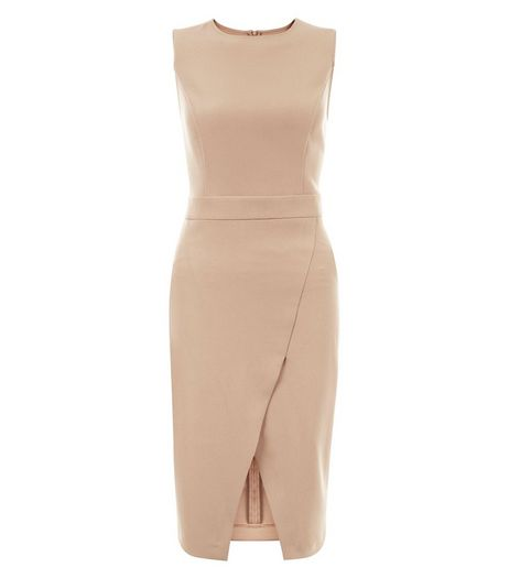Camel Crepe Wrap Front Midi Dress  | New Look