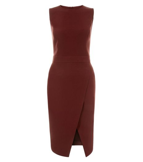 Burgundy Crepe Wrap Front Midi Dress  | New Look