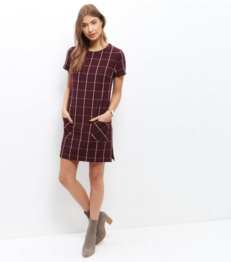 Burgundy Check Double Pocket Tunic Dress  | New Look