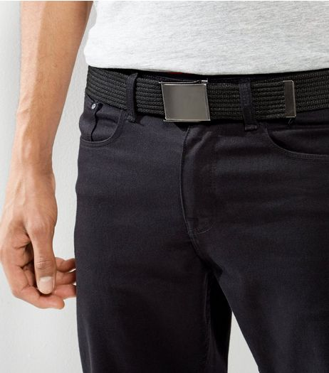 Black Webbing Textured Belt | New Look