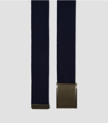 Navy Webbing Textured Belt  | New Look