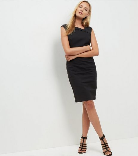 Black Pleat Neck Pencil Dress  | New Look