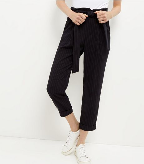 Navy Pinstripe Tie Waist Tapered Trousers  | New Look