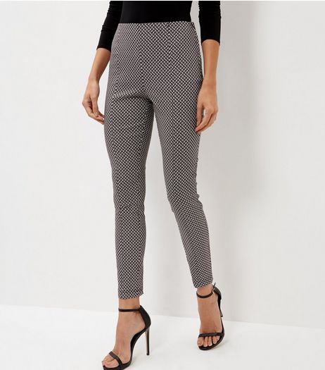 Black Geo Print Bengaline Slim Leg Trousers  | New Look