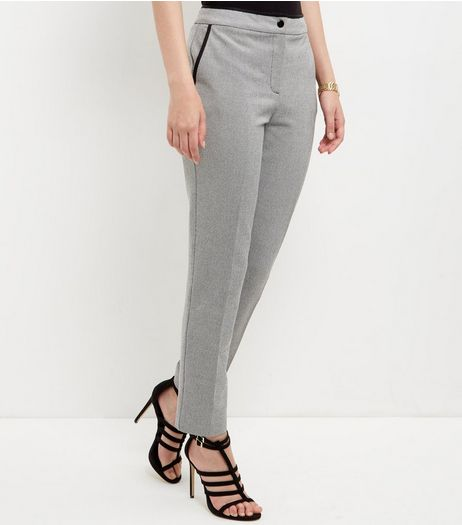 Grey Contrast Trim Slim Leg Trousers  | New Look