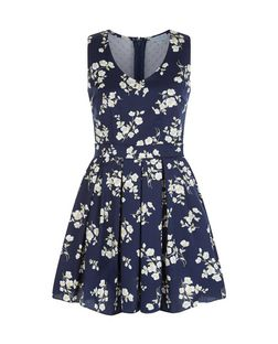 Blue Vanilla Navy Floral Print Mesh Panel Skater Dress | New Look