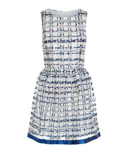 Blue Vanilla Blue Floral Check Mesh Skater Dress | New Look
