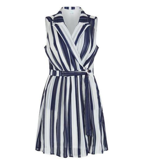 Blue Vanilla Blue Stripe Wrap D-Ring Belted Dress | New Look