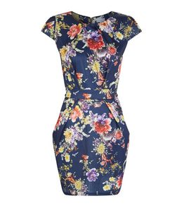 Blue Vanilla Navy Floral Print Cap Sleeve Dress | New Look