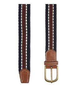 Blue Textured Stripe Elasticated Belt  | New Look