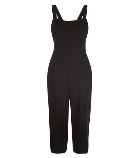 Black Twill Pinafore Jumpsuit  | New Look