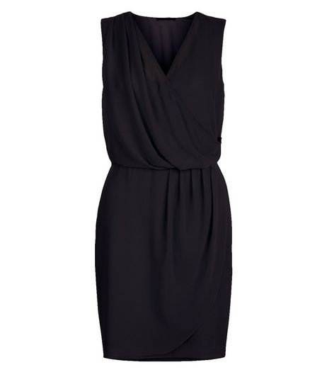 Navy Chiffon Wrap Front Dress | New Look