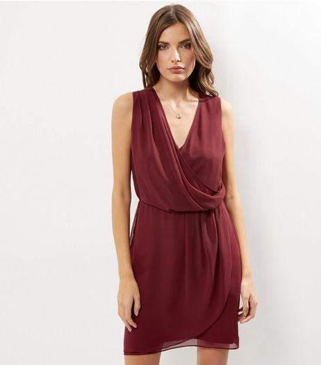 Dark Red Chiffon Drape Front Sleeveless Dress | New Look