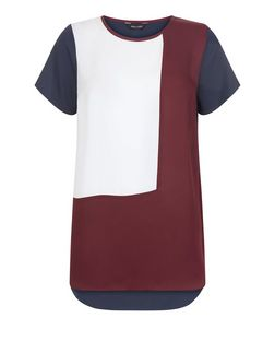 Red Colour Block T-Shirt | New Look