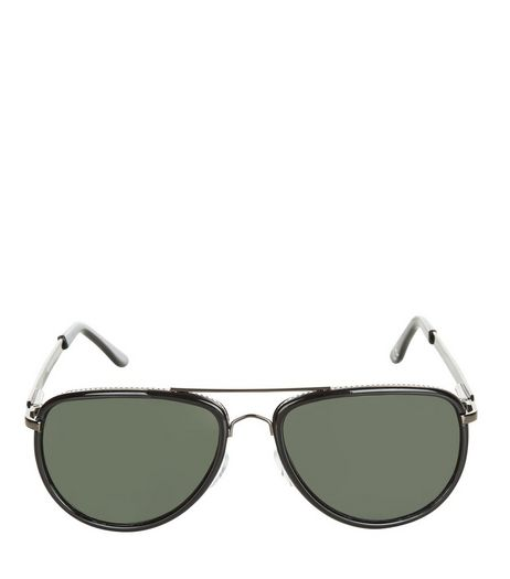 Black Contrast Trim Pilot Sunglasses | New Look