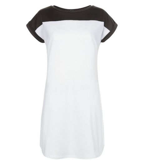 Tall White Colour Block Tunic Dress | New Look