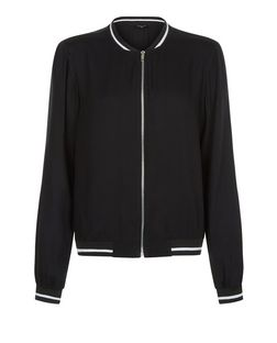 Tall Black Contrast Trim Bomber Jacket | New Look