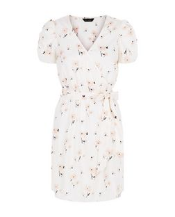Cream Petal Print Tie Waist Wrap Front Dress  | New Look