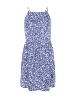 Blue Ditsy Floral Print Strappy Dress  | New Look