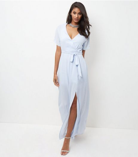 Pale Blue Wrap Front Tie Waist Maxi Dress  | New Look