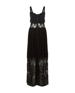 Black Lace Panel Button Front Maxi Dress  | New Look