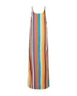 Multicoloured Stripe Slip Maxi Dress  | New Look