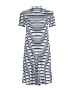 White Stripe Funnel Neck Swing Dress  | New Look