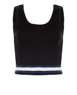 Black Ribbed Stripe Trim Crop Top  | New Look