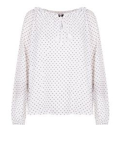 White Polka Dot Tie Front Blouse  | New Look