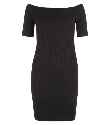 Black Ribbed Bardot Neck 1/2 Sleeve Mini Dress  | New Look