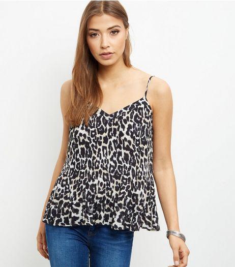 White Chiffon Animal Print Pleated Cami | New Look