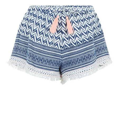 Blue Aztec Print Tassel Shorts  | New Look