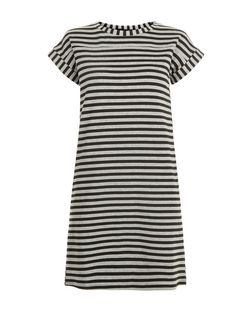 Black Stripe T-Shirt Dress | New Look