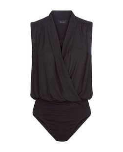 Black Wrap Sleeveless Bodysuit | New Look