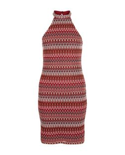 Red Zig Zag Crochet Bodycon Dress  | New Look