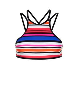 Red Stripe High Neck Bikini Top | New Look