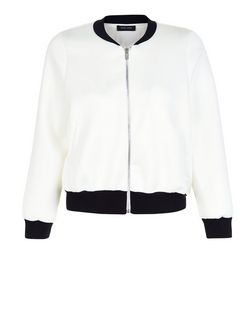 Petite Cream Scuba Bomber Jacket | New Look