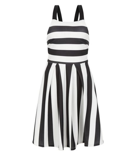 Black Wide Stripe Prom Dress  | New Look