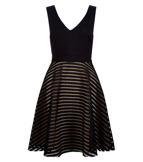 Black Stripe Mesh Skater Dress | New Look