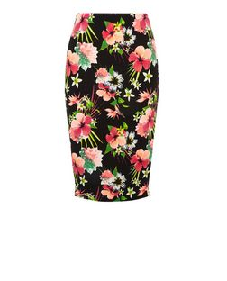 Black Floral Tropical Print Pencil Skirt  | New Look