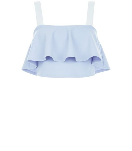 Blue Colour Block Frill Trim Crop Top  | New Look