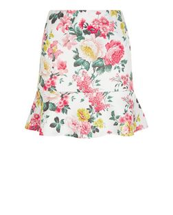 White Floral Print Peplum Hem Skirt | New Look